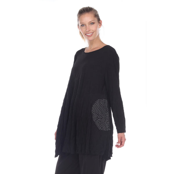 Moonlight Crinkle Comfort Tunic in Black - 2754 - Sizes M & XL Only