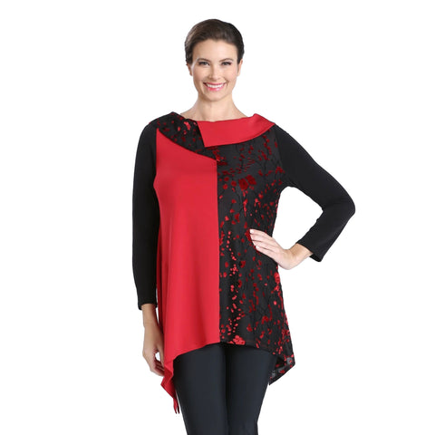 IC Collection Mixed Media Tunic in Red/Black  - 3625T Small & Medium Only
