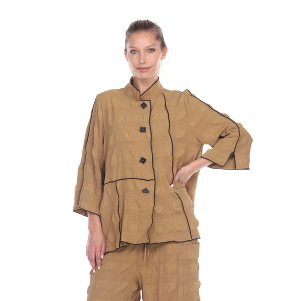 Moonlight Textured Button Front Shirt/Jacket in Camel - 3114-CML