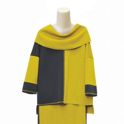 IC Collection Colorblock Techno-Knit Tunic Top in Mustard/Charcoal - 3617T-MST