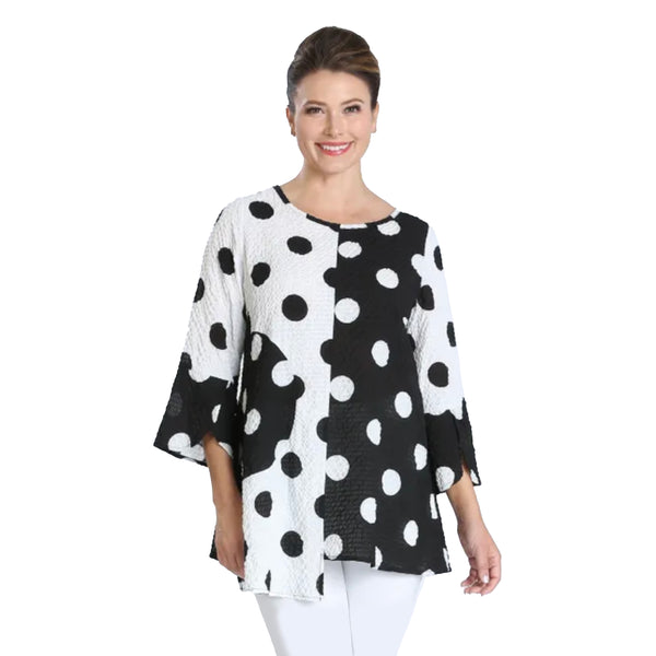 IC Collection Polka Dot Pucker Knit Tunic Top in Black/White - 2872T