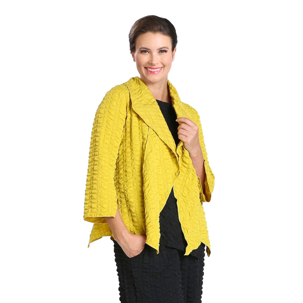 IC Collection Pucker Knit Open Front Jacket in Mustard - 3873J