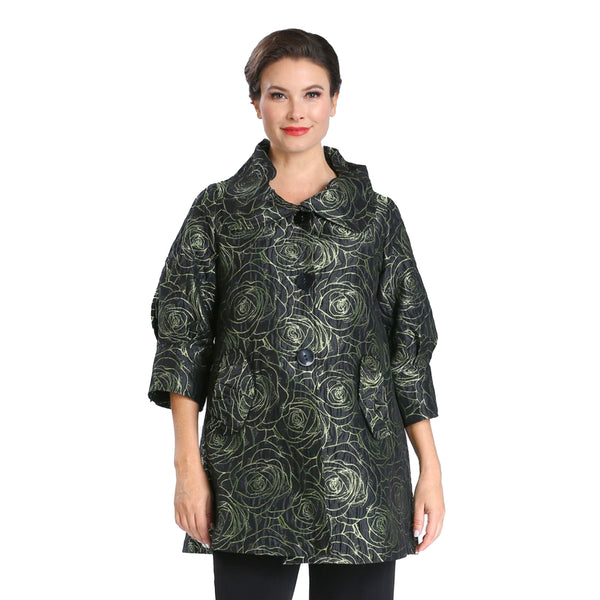 IC Collection Floral Jacquard Swing Jacket in Lime - 2377J-LM