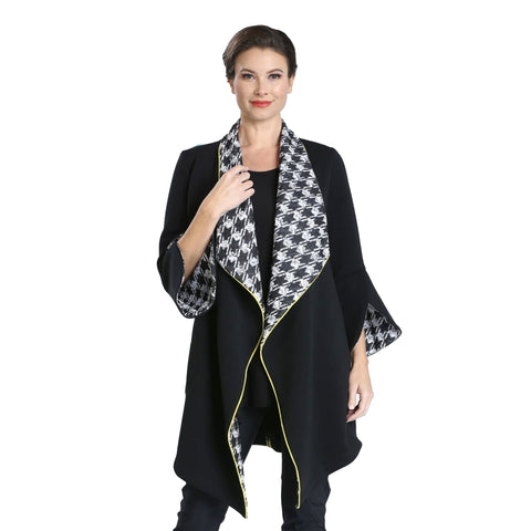 IC Collection Houndstooth Shawl Collar Open Front Jacket - 2200J