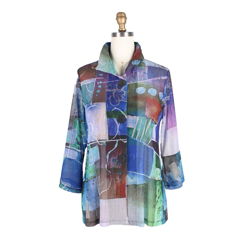 Damee Watercolor Abstract-Print Jacket in Blue/Multi - 4653-BLU
