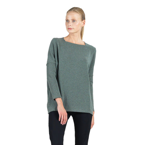 Clara Sunwoo Boat-Neck Sweater Knit Tunic in Olive - T133WE-OLV