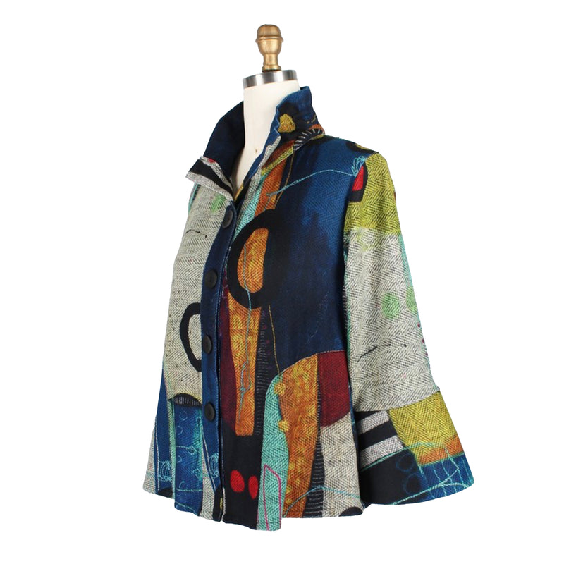 Damee Abstract Art Sweater Knit Jacket in Green/Multi - 4670