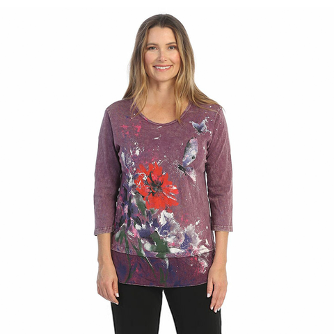 "Jess & Jane ""Passion"" Printed Mineral Washed Tunic Top - M48-1556"