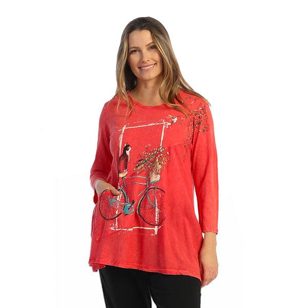 "Jess & Jane ""Cat on a Bike"" Mineral Washed Tunic with Linen Contrast - M62-1588"