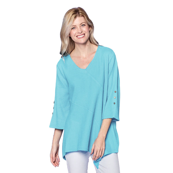 Focus Fashion Waffle-Knit V-Neck Tunic in Sky - LW-102-SKY