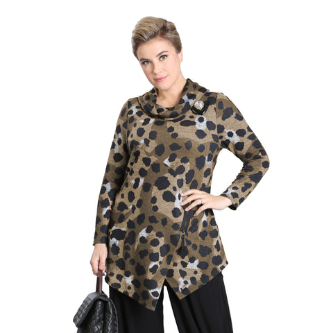 IC Collection Animal Print Soft Knit Sweater Tunic in Brown - 3116T-BRN - Size M Only