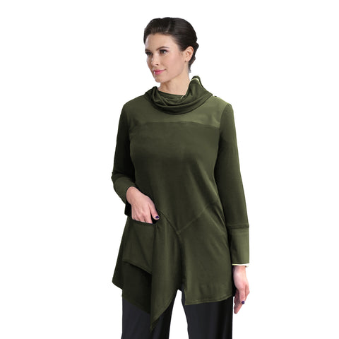 IC Collection Asymmetric Cowl Neck Tunic  in Olive - 3879T-OLV- Sizes M, L & XXL