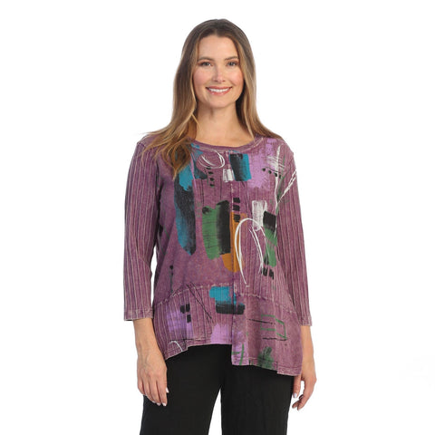 "Jess & Jane ""Dreaming"" Abstract Print Tunic Top w/ Rib Contrast - M67-1514"