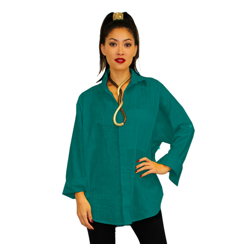 Dilemma Fashions Solid Button Front Big Shirt in Teal - GDB-527-TL