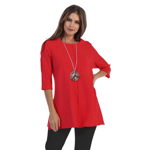 Focus Fashion Rib Textured Tunic in True Red - CS-342-RD