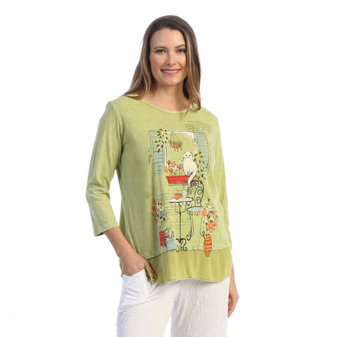 "Jess & Jane ""Terrace"" Printed Mineral Washed Tunic Top - M48-1606"