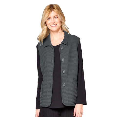 Focus Fashion Waffle Vest in Charcoal - SW218-CHRL