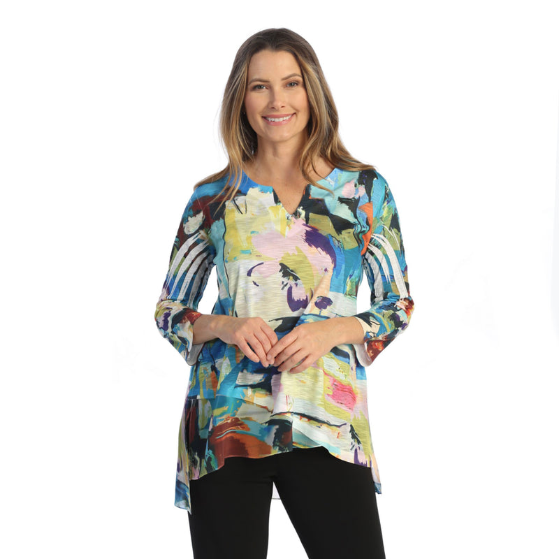 "Jess & Jane ""Masterpiece"" High-Low Tunic w/ Chiffon Border - 61-1570"