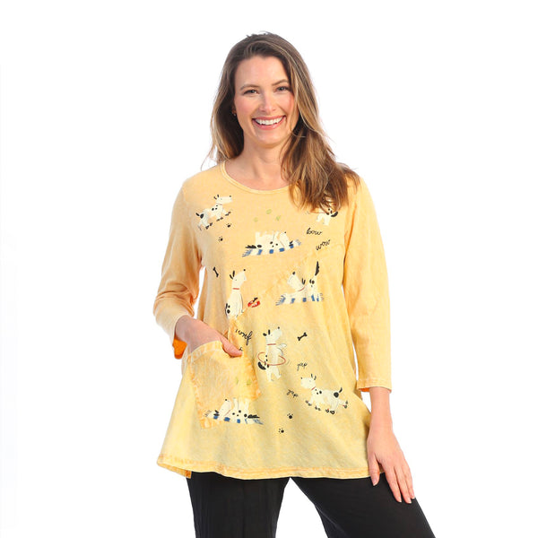 "Jess & Jane ""Dog-xercise"" Mineral Washed Tunic with Linen Contrast - M62-1610"