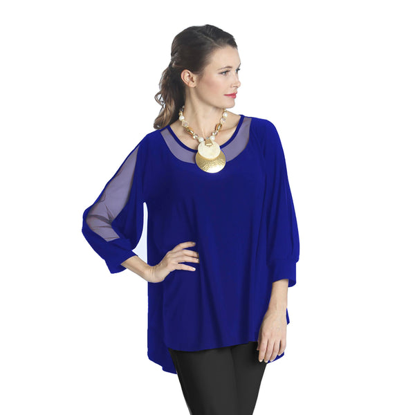 IC Collection Mesh Trim Tunic in Cobalt - 1027T-COB - Sizes S - L