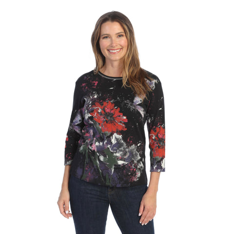 "Jess & Jane ""Passion"" Abstract Top in Black - 14-1556BK"