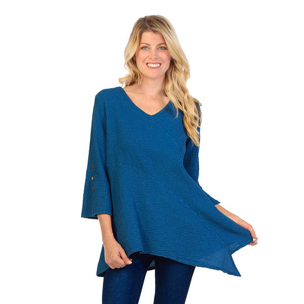 Focus Fashion Waffle-Knit V-Neck Tunic in Deep Sea - LW-102-DS
