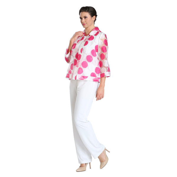 IC Collection Sheer Polka Dot Topper Jacket in Pink & White - 2880J-PNK