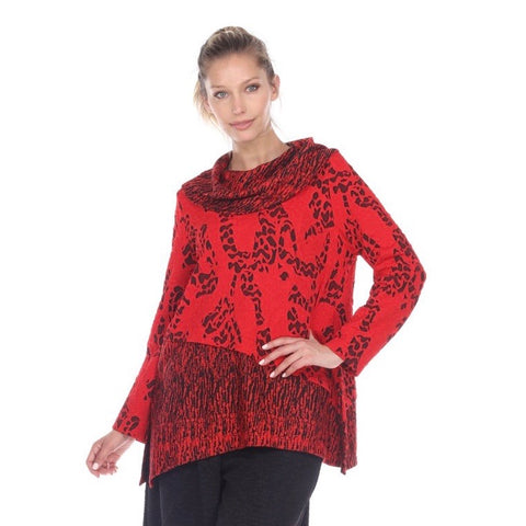 Moonlight Mixed Media Cowl-Neck Tunic in Red/Black - 2099