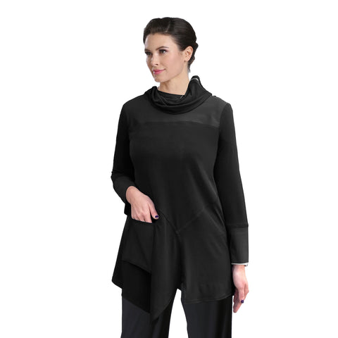 IC Collection Zip Cowl Neck Stretch Knit Tunic in Black - 3879T-BLK