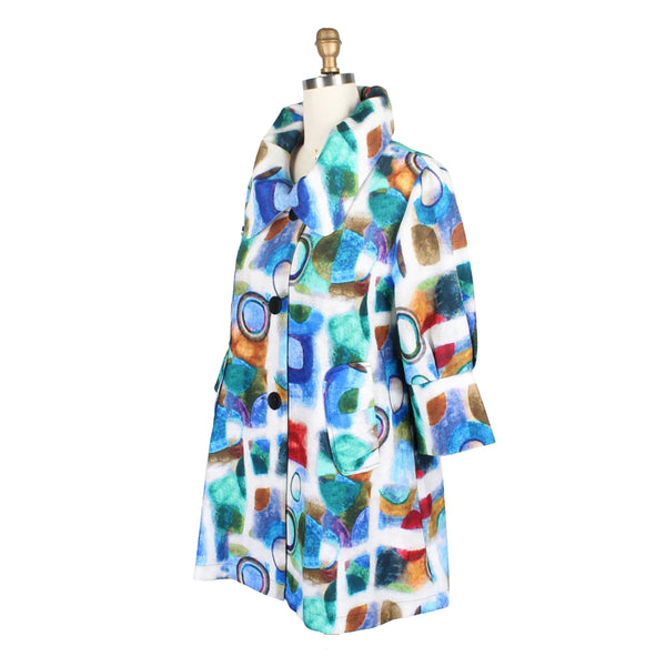 Damee Watercolor Abstract-Print Swing Jacket in Blue/Multi - 4686