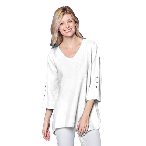 Focus Fashion V-Neck Bell Sleeve Tunic in White  - LW-102-WHT