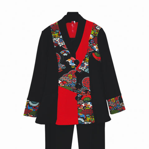 IC Collection Colorblock Floral-Print Soft Stretch Knit Jacket in Red/Multi - 3804J
