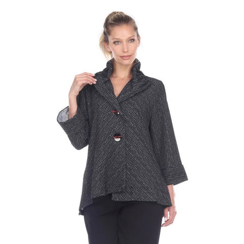 Moonlight Asymmetric Jacket in Grey/Black - 8707-G/B
