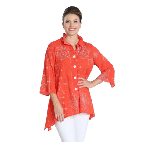 New! IC Collection Button Front Blouse in Orange/White - 2815J-ORNG