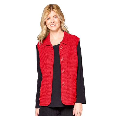 Focus Fashion Waffle Vest in True Red - SW218-RD