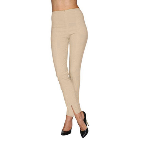 Mesmerize Pants with Front Ankle Slits and Front Zipper in Light Khaki - MA21-NUD