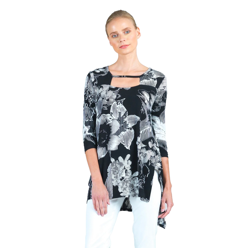 Clara Sunwoo Floral High-Low Tunic in Black/White - TU23P3