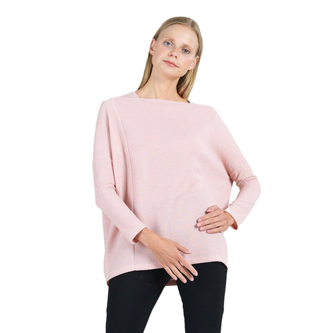Clara Sunwoo Ribbed Boat Neck Tunic Top in Blush - T133W-BLS - Sizes S, M & XL Only