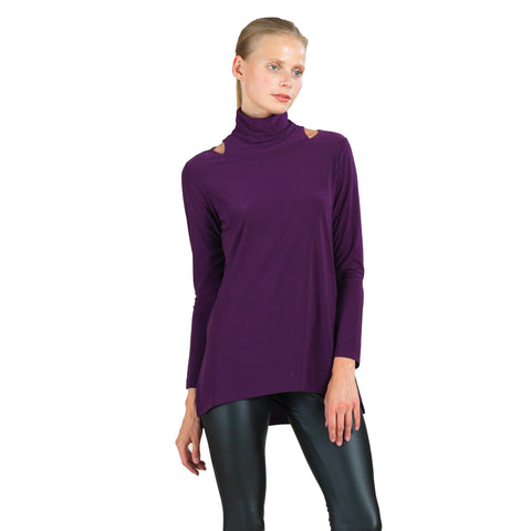 Clara Sunwoo Soft Knit Mock Neck Tunic with Cutouts in Eggplant - TU79-EGG