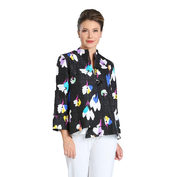 IC Collection Abstract Floral Asymmetric Jacket in Blue/Multi - 3841J-BLU