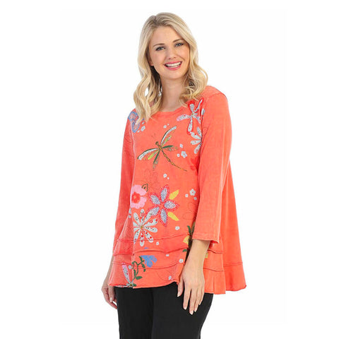 "Jess & Jane ""Good Times"" Floral Print Layered Tunic Top - M66-1228"
