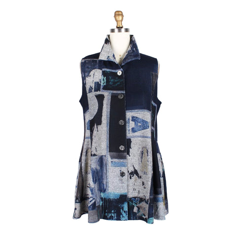 Damee NY Abstract Collage Vest in Navy - 3174-NVY