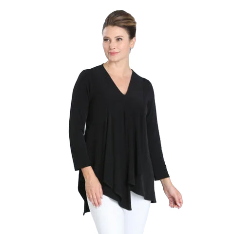 IC Collection V-Neck Drape Front Tunic in Black - 3878T-BLK