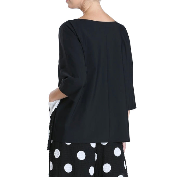 IC Collection Pocket Tunic Top in Black/White - 4013T