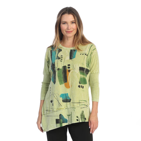 "Jess & Jane ""Dreaming"" Abstract Print Mineral Washed Cotton Tunic Top in Jade Cactus -  M41-1514 - Sizes 1X & 2X"