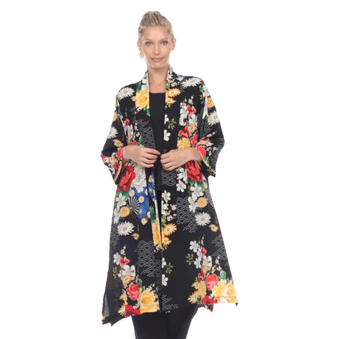 Moonlight by Y&S Floral Open Front Jacket in Black/Multi - 3029-BLK
