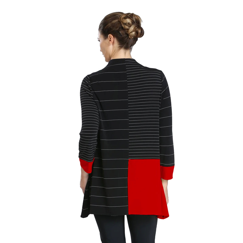 IC Collection Zip Front Colorblock Stretch Knit Tunic in Black/Red - 3846T-RED