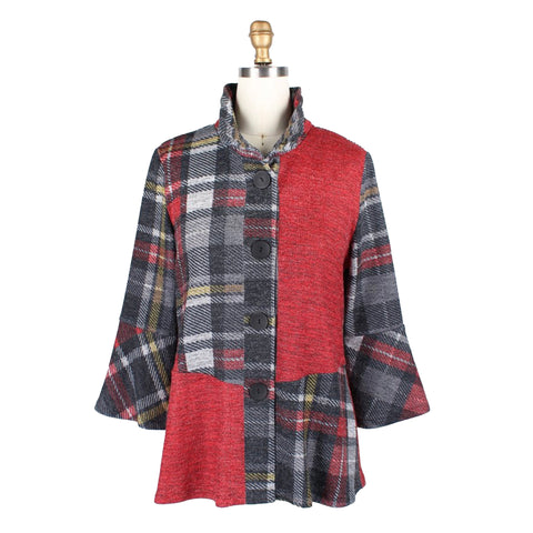Damee Plaid Colorblock Sweater Knit Jacket in Red - 4664-RED