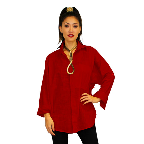 Dilemma Fashions Solid Button Front Big Shirt in Red - GDB-527-RD