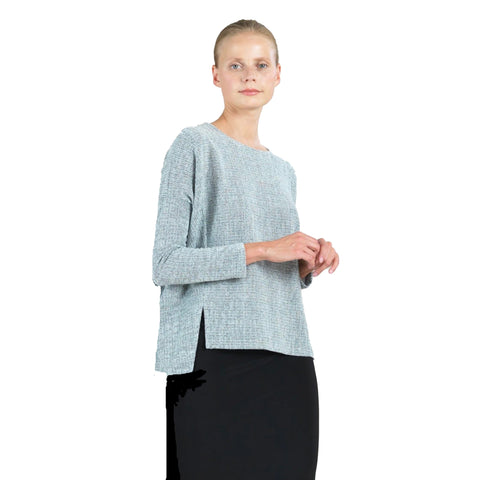 Clara Sunwoo High-Low Sweater Knit Top in Grey - T199W2 - Sizes M, XL & 1X